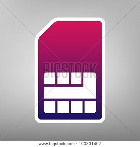 Sim card sign. Vector. Purple gradient icon on white paper at gray background.