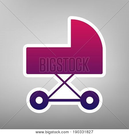 Pram sign illustration. Vector. Purple gradient icon on white paper at gray background.