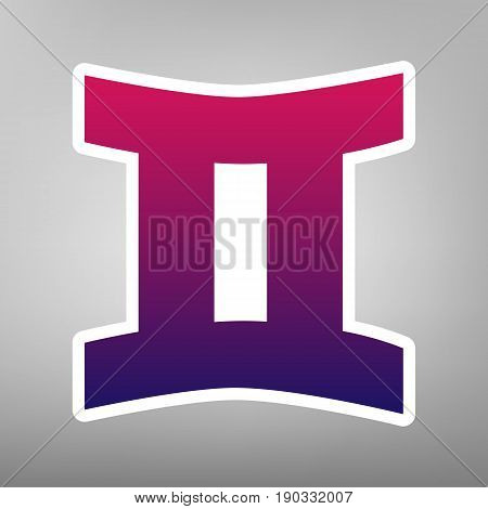 Gemini sign. Vector. Purple gradient icon on white paper at gray background.