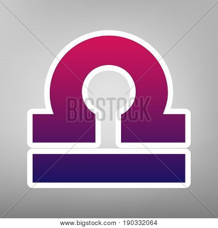 Libra sign illustration. Vector. Purple gradient icon on white paper at gray background.