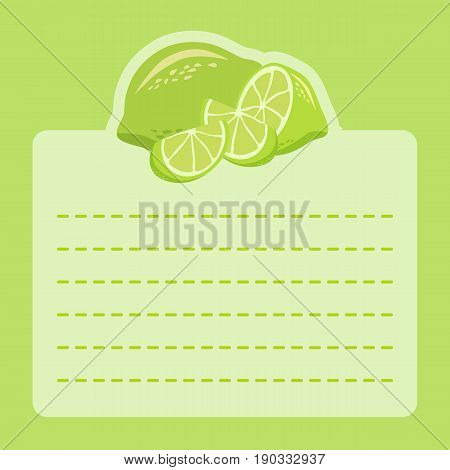 Lime Fruit Memo Notes Green. Vector illustration of lime slice icon on green background and empty notes space for writing message.