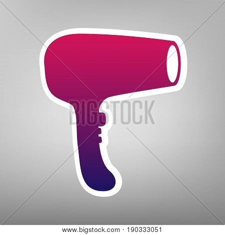 Hair Dryer sign. Vector. Purple gradient icon on white paper at gray background.