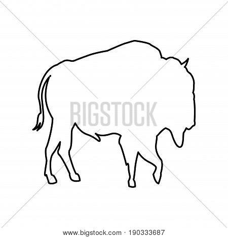 bison animal forest wild life image vector illustration