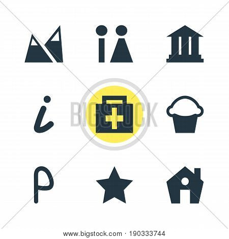 Vector Illustration Of 9 Check-In Icons. Editable Pack Of Car Park, Map Information, Home And Other Elements.
