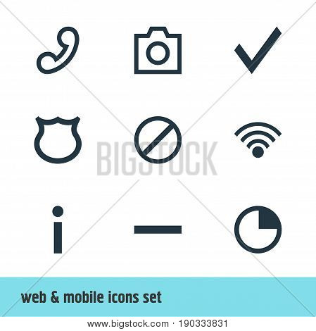 Vector Illustration Of 9 User Icons. Editable Pack Of Access Denied, Cordless Connection, Stopwatch And Other Elements.