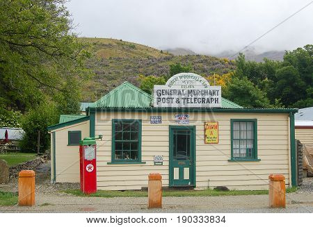 Remnant of a golden age: vintage general store and post office in Cardrona on the South island of New Zealand - 8 December 2009