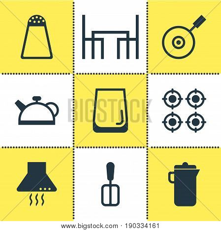Vector Illustration Of 9 Cooking Icons. Editable Pack Of Glass Cup, Teakettle, Jug And Other Elements.