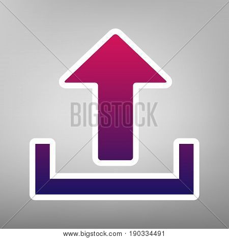 Upload sign illustration. Vector. Purple gradient icon on white paper at gray background.