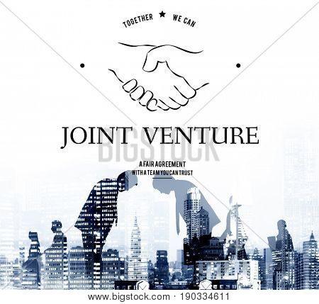 Joint Venture Partnership Teamwork Support Handshake Graphic