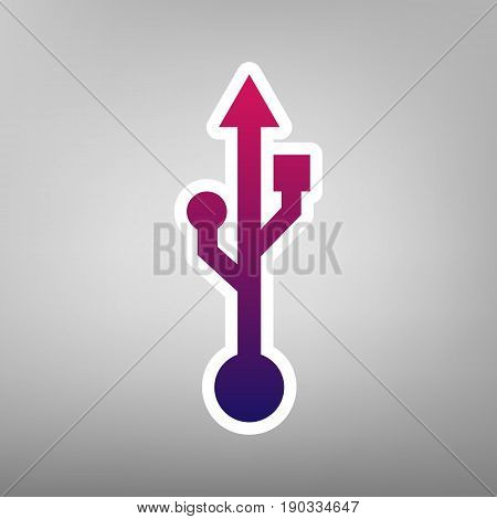 USB sign illustration. Vector. Purple gradient icon on white paper at gray background.