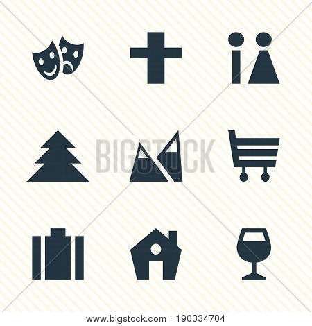 Vector Illustration Of 9 Map Icons. Editable Pack Of Cross, Toilet, Shopping Cart And Other Elements.
