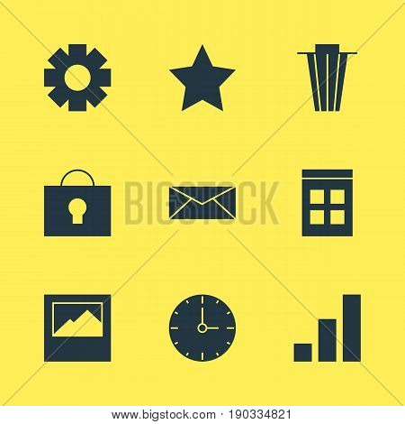 Vector Illustration Of 9 Internet Icons. Editable Pack Of Bookmark, Gear, Landscape Photo Elements.