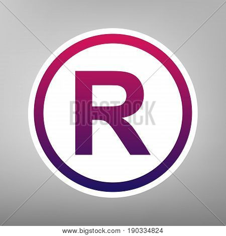 Registered Trademark sign. Vector. Purple gradient icon on white paper at gray background.