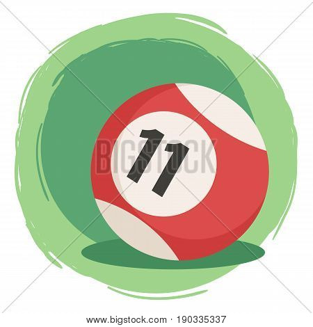 Billiard Ball Number 11 Striped Red. Vector illustration of striped color red and white billiards ball number eleven isolated on green white background.