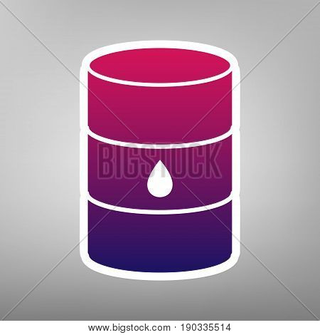 Oil barrel sign. Vector. Purple gradient icon on white paper at gray background.