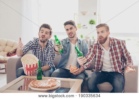 Upset Young Bearded Guys Are Frustrated About The Loss Of The Team In Game They Are Watching. They A