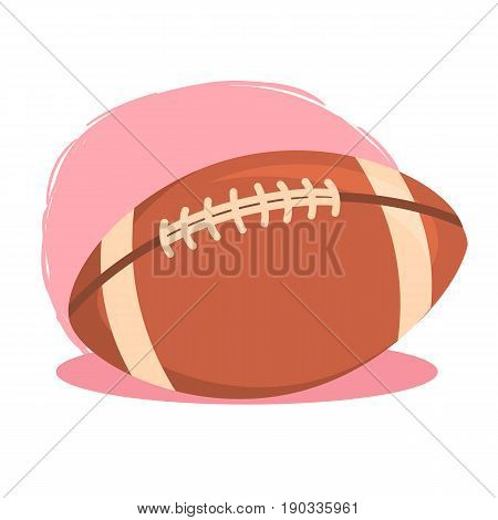 American Football Rugby Ball. Vector illustration of American football ball icon isolated on pink white background.