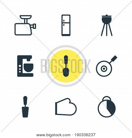 Vector Illustration Of 9 Restaurant Icons. Editable Pack Of Mincer, Refrigerator, Skillet And Other Elements.