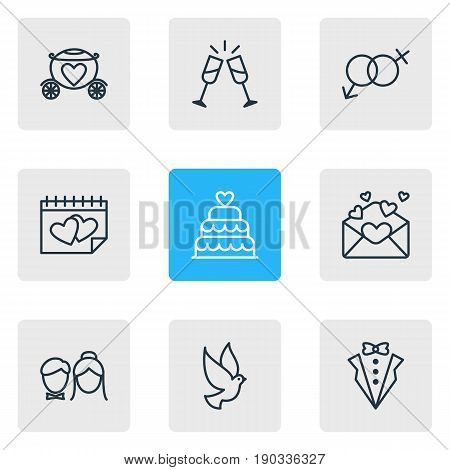 Vector Illustration Of 9 Wedding Icons. Editable Pack Of Bridegroom Dress, Chariot, Couple And Other Elements.