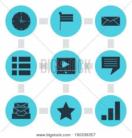 Vector Illustration Of 9 Internet Icons. Editable Pack Of Bookmark, Map Marker, Chat And Other Elements.
