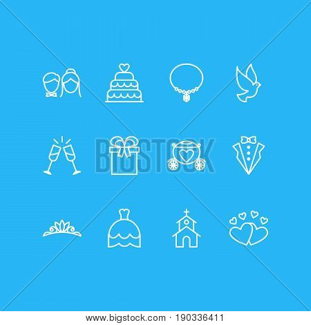 Vector Illustration Of 12 Engagement Icons. Editable Pack Of Wineglass, Patisserie, Jewelry And Other Elements.