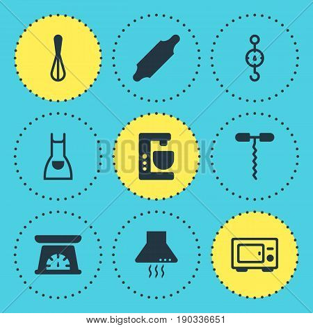 Vector Illustration Of 9 Cooking Icons. Editable Pack Of Measuring Tool, Bakery Roller, Extractor Appliance And Other Elements.