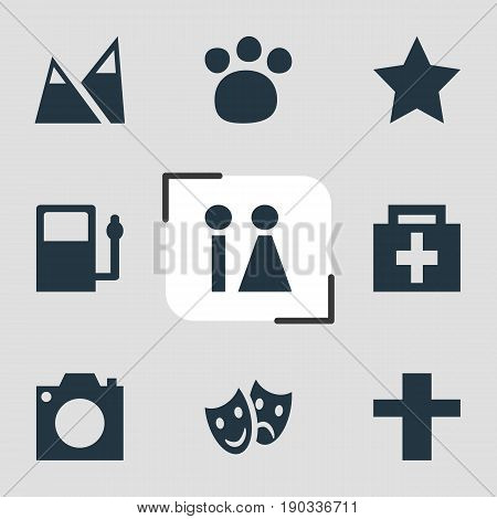 Vector Illustration Of 9 Check-In Icons. Editable Pack Of Refueling, Cross, Photo Device And Other Elements.