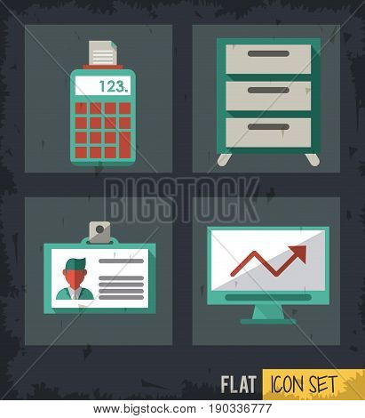 black background squares set with calculator and computer and file cabinet and identity card vector illustration