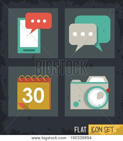 black background squares set with smartphone and calendar and speech bubble and photo camera vector illustration