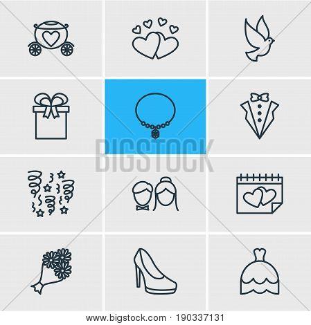 Vector Illustration Of 12 Wedding Icons. Editable Pack Of Sandal, Bridegroom Dress, Present Elements.
