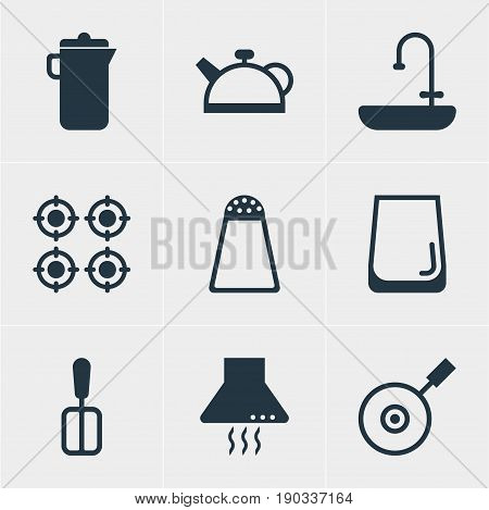 Vector Illustration Of 9 Cooking Icons. Editable Pack Of Furnace, Extractor Appliance, Teakettle And Other Elements.