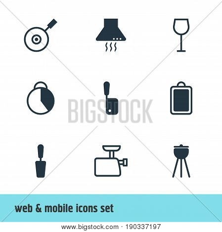 Vector Illustration Of 9 Cooking Icons. Editable Pack Of Barbecue, Mincer, Spatula And Other Elements.