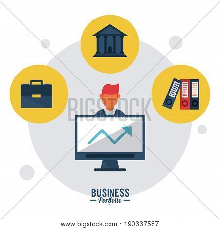 colorful poster business portfolio with briefcase computer parthenon and books vector illustration
