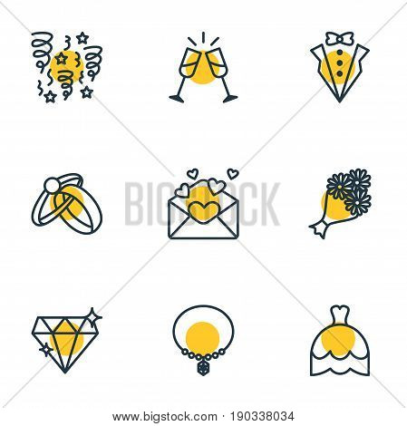 Vector Illustration Of 9 Marriage Icons. Editable Pack Of Bridegroom Dress, Wedding Gown, Jewelry And Other Elements.