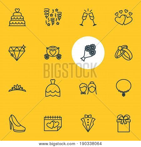 Vector Illustration Of 16 Engagement Icons. Editable Pack Of Bridal Bouquet, Engagement, Couple And Other Elements.