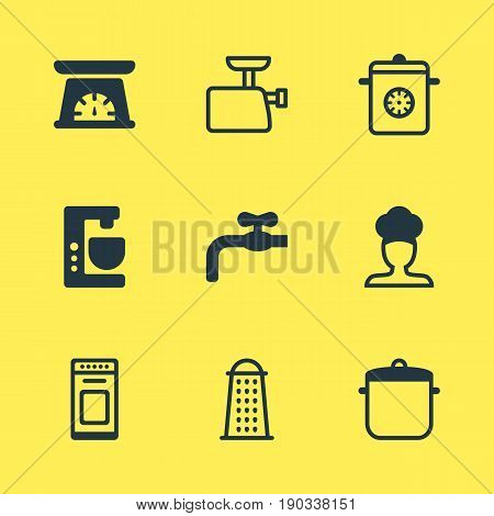 Vector Illustration Of 9 Kitchenware Icons. Editable Pack Of Steamer, Mincer, Faucet And Other Elements.
