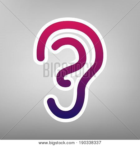 Human anatomy. Ear sign. Vector. Purple gradient icon on white paper at gray background.