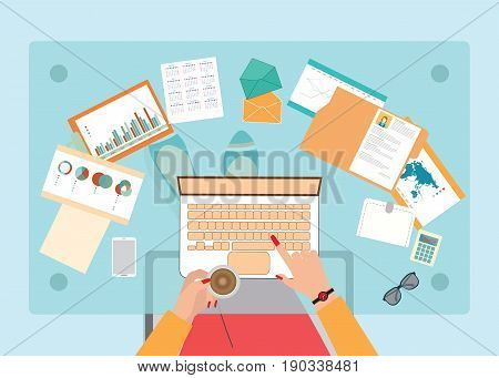 Top view of Busy business woman working hard on her desk in office with a lot of paper work office desk Business conceptual on hard working cartoon flat design vector illustration.