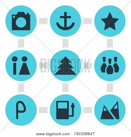 Vector Illustration Of 9 Location Icons. Editable Pack Of Refueling, Bookmark, Toilet And Other Elements.