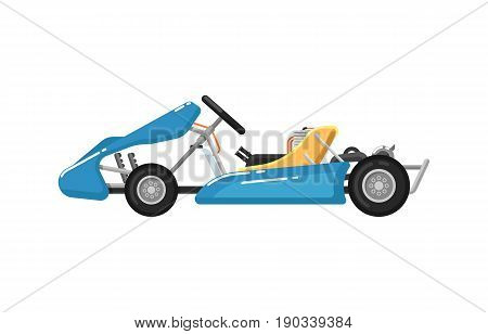 Go kart isolated icon in flat design. Modern auto vehicle, outdoor people transportation and travel activity vector illustration.