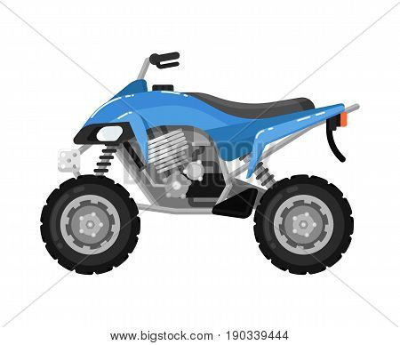 Off road motorbike isolated icon in flat design. Modern auto vehicle, outdoor people transportation and travel activity vector illustration.
