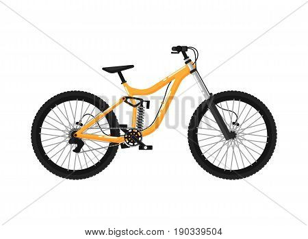 Downhill sport bicycle isolated icon. Ecology trasport, outdoor people transportation and travel activity vector illustration in flat design.