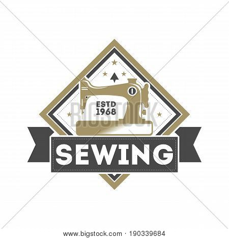 Tailor sewing studio vintage isolated label with sewing machine. Handcrafted shop badge, custom clothing atelier vector illustration in monochrome style.