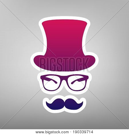 Hipster accessories design. Vector. Purple gradient icon on white paper at gray background.