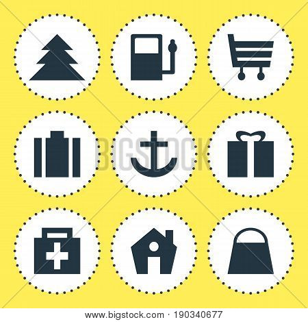 Vector Illustration Of 9 Travel Icons. Editable Pack Of Present, Home, Anchor And Other Elements.