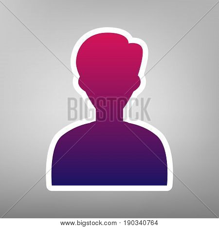 User avatar illustration. Anonymous sign. Vector. Purple gradient icon on white paper at gray background.