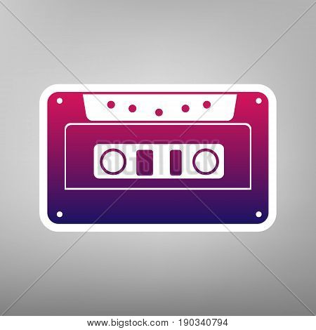 Cassette icon, audio tape sign. Vector. Purple gradient icon on white paper at gray background.