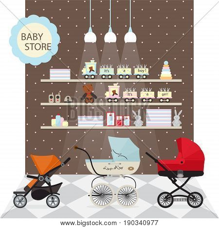 Baby store banner vector illustration. Kids market retail poster in cartoon style. Stroller or child carriage, baby care product, boy and girl toys and other accessories for newborn on shop shelves.