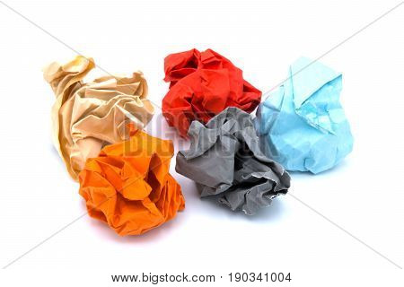 Colorful paper on isolated white background .