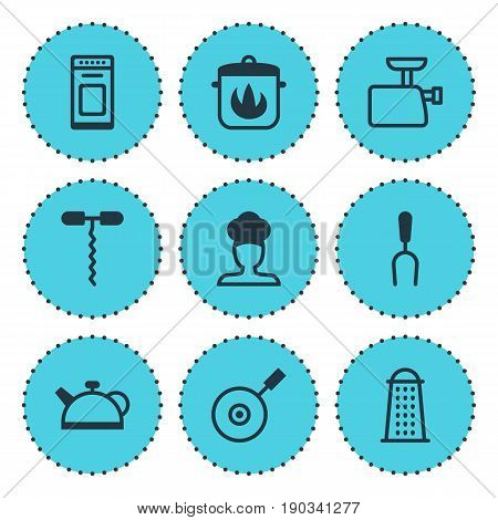 Vector Illustration Of 9 Cooking Icons. Editable Pack Of Mincer, Wine Opener, Oven And Other Elements.